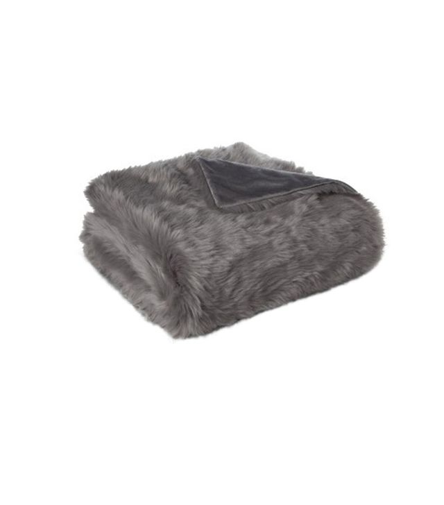 Target Grey Faux Fur Throw Blanket