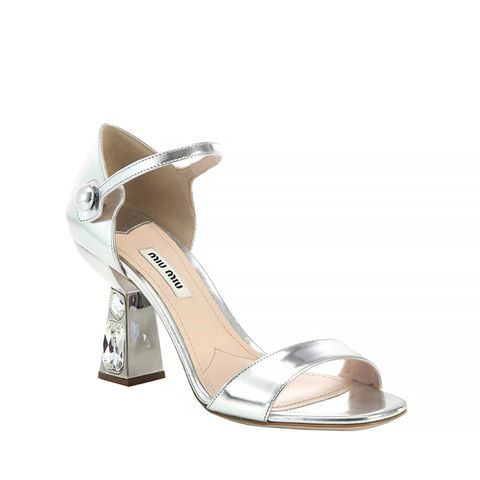 Metallic Leather Jeweled-Heel Sandals