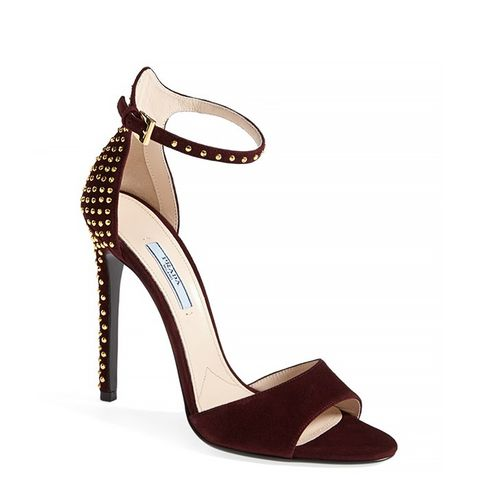 Studded Suede Ankle-Strap Sandals