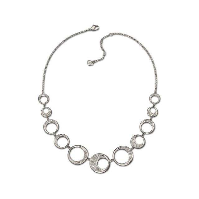 Swarovski Rhodium-Plated Pave Crystal Circle Necklace