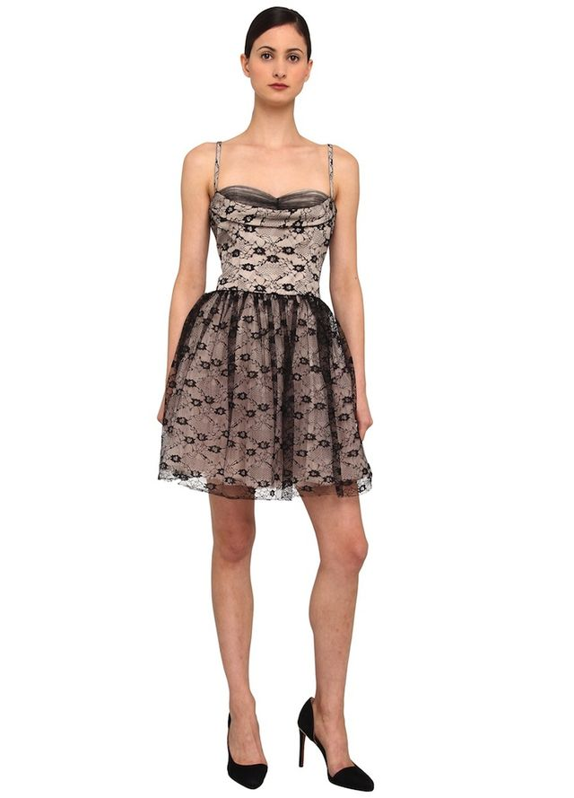 Red Valentino Flower Lace Embroidery Bustier Dress