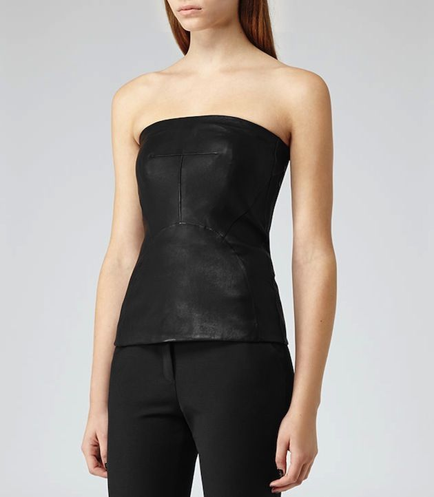 Reiss Black Leather Bustier