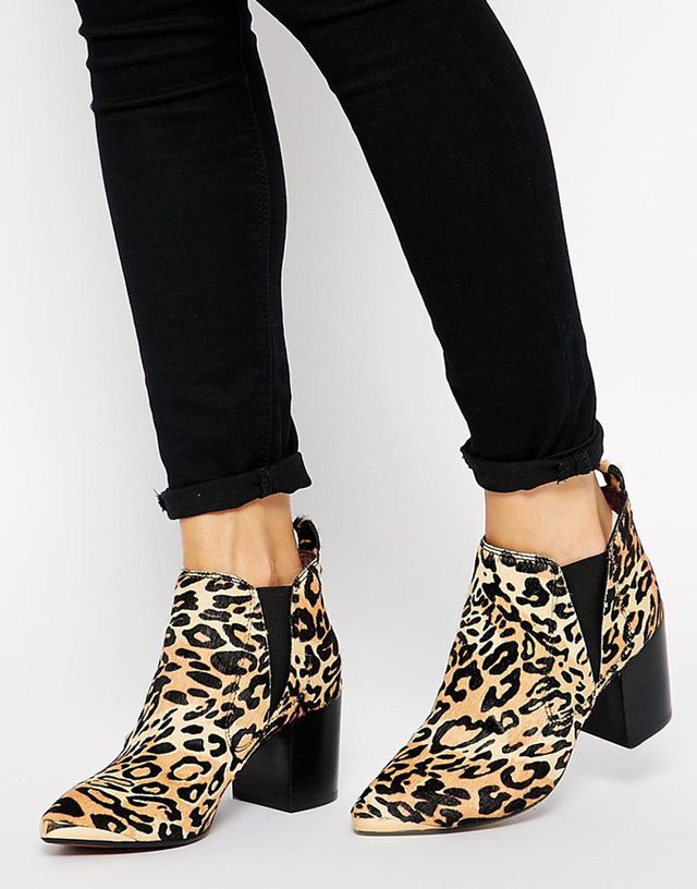 Report Signature Toby Leopard Mid Heeled Ankle Boots
