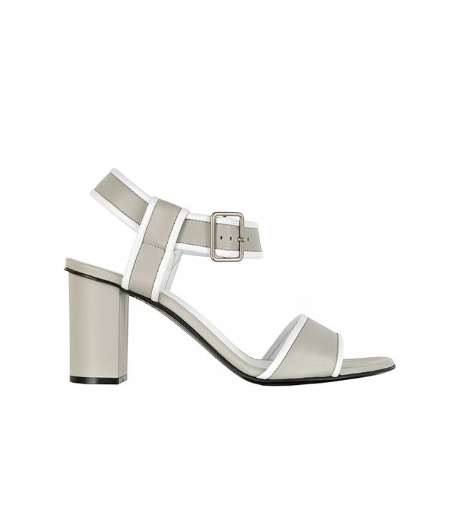 Jil Sander Pearl Gray and White Leather Sandals