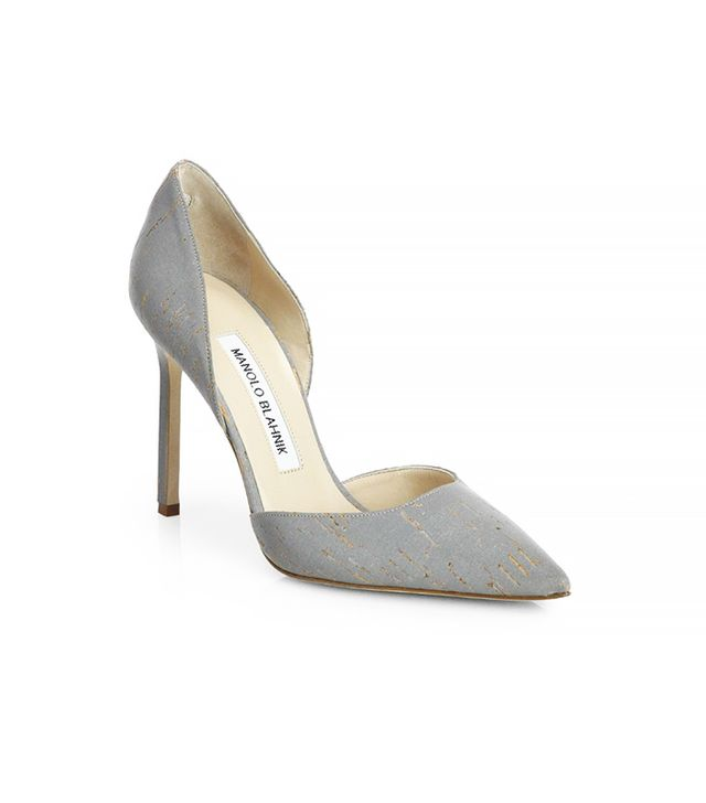 Manolo Blahnik Tayler Metallic Cork d'Orsay Pumps
