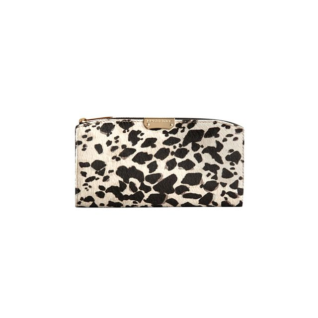 Burberry Animal Print Calfskin Continental Wallet
