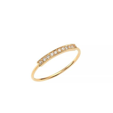 Pavé Diamond & 14K Yellow Gold Horizontal Bar Ring