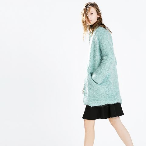 Zipped Boucle Coat