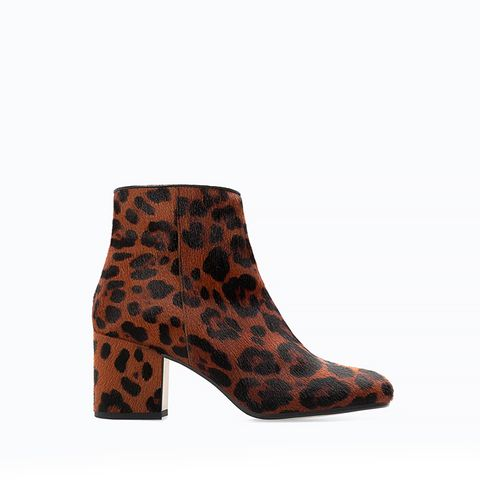 High Heeled Printed Leather Bootie