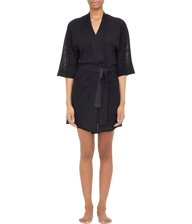 ATM Anthony Thomas Melillo Mixed-Stitch Short-Sleeve Robe
