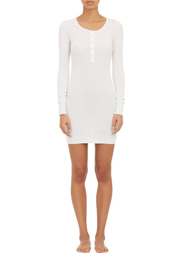 ATM Anthony Thomas Melillo Waffle-Stitch Henley Dress