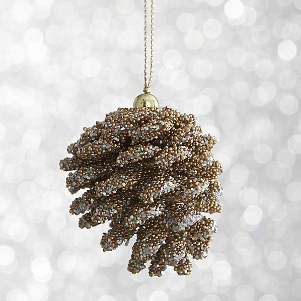Crate & Barrel Mini Beaded Gold Pinecone Ornament