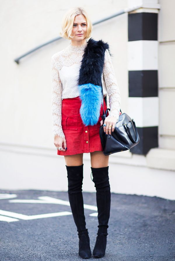 Long-Sleeve Lace Top + Miniskirt