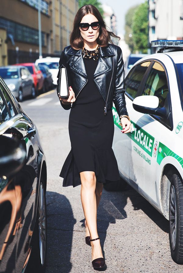 Fitted Black Dress + Sleek Moto Jacket