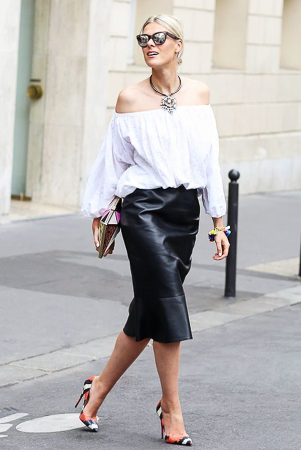 Off-The-Shoulder Top + Leather Skirt
