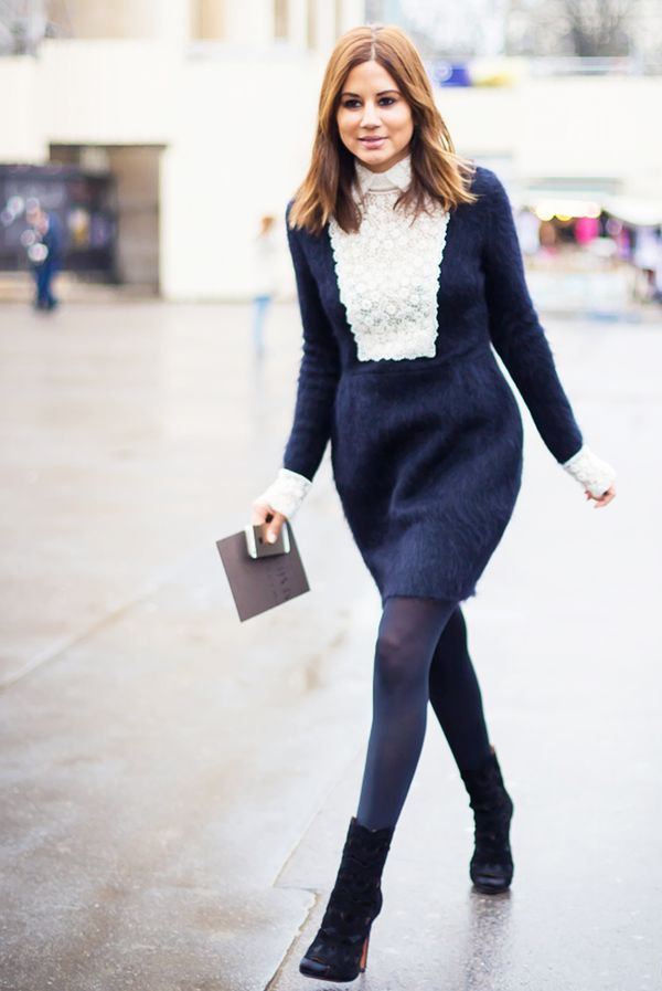 Long-Sleeve Dress + Ankle Boots