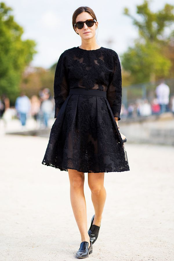 Feminine Dress + Patent Leather Loafers