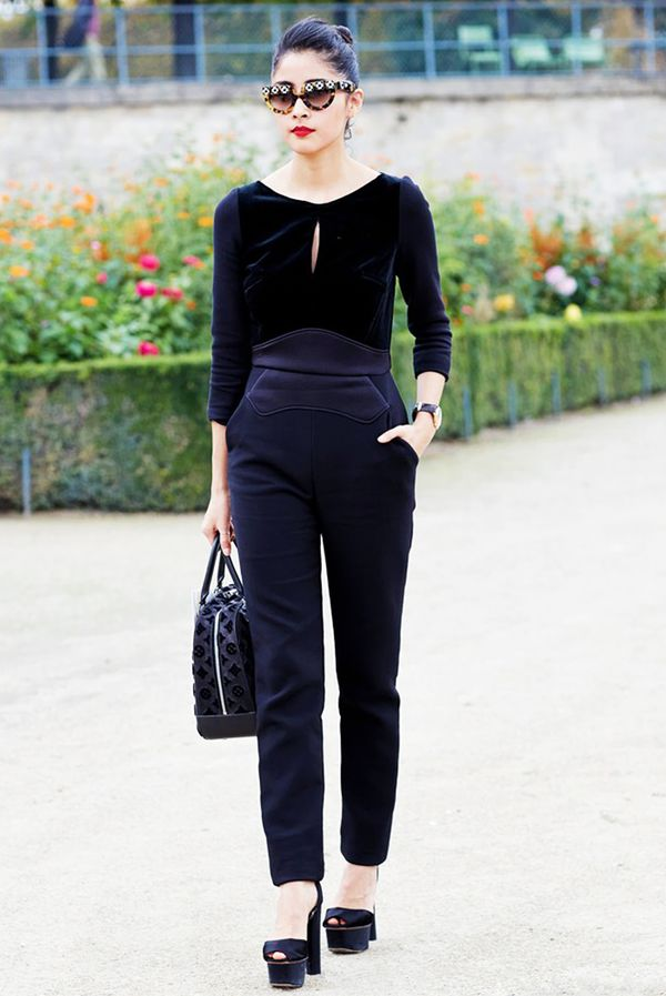 Black Jumpsuit + Ankle-Strap Heels