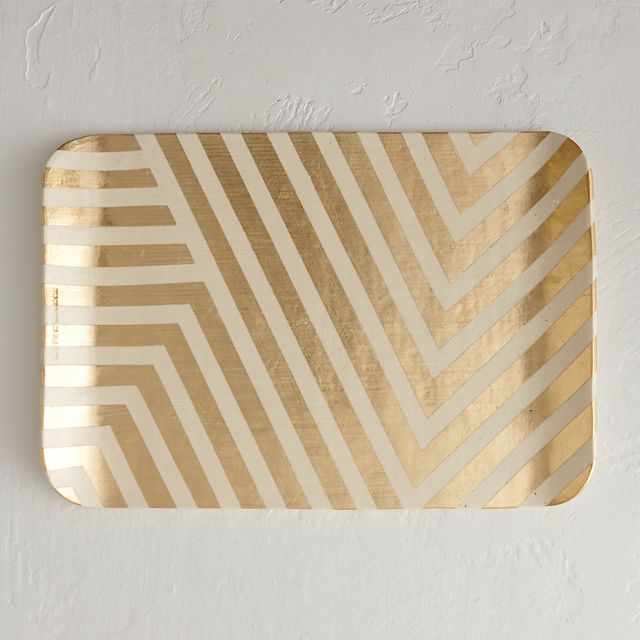 Terrain Gold Chevron Tray