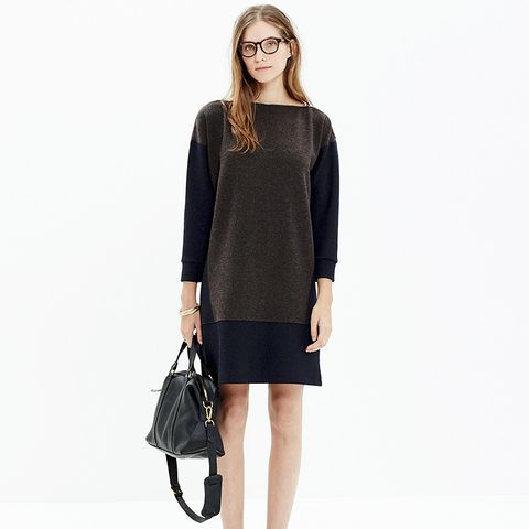 Shoulder-Zip Sweatshirt Dress