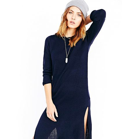 High-Slit Midi Sweater Dress