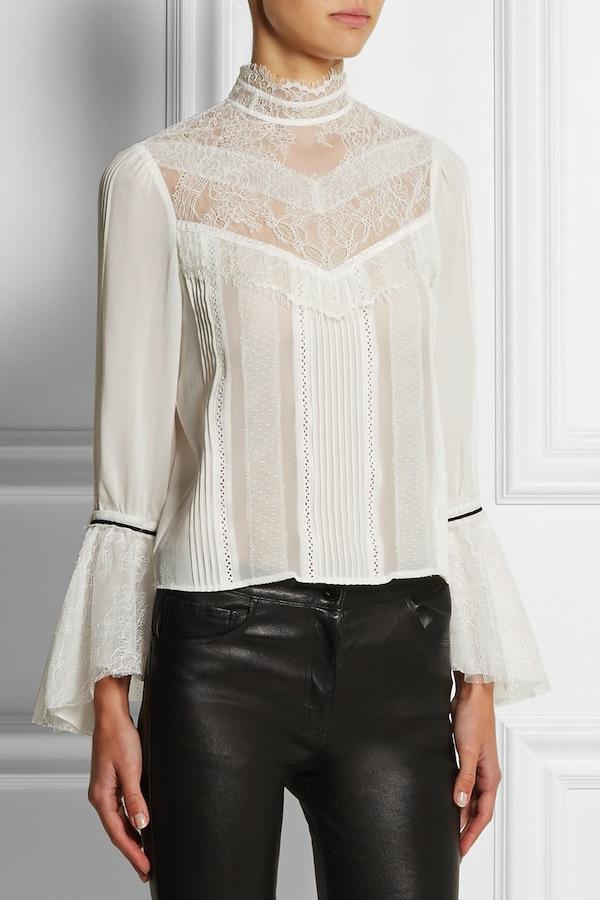 Alice + Olivia Brett lace-paneled stretch-silk georgette top
