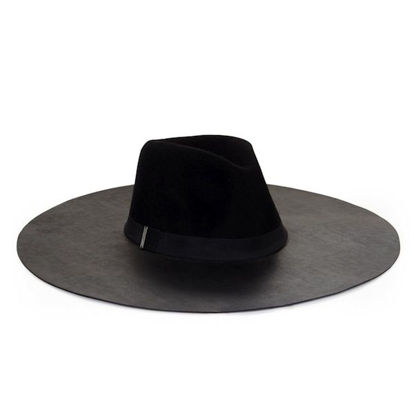 BCBGMAXAZRIA Faux-Leather And Felt Floppy Hat