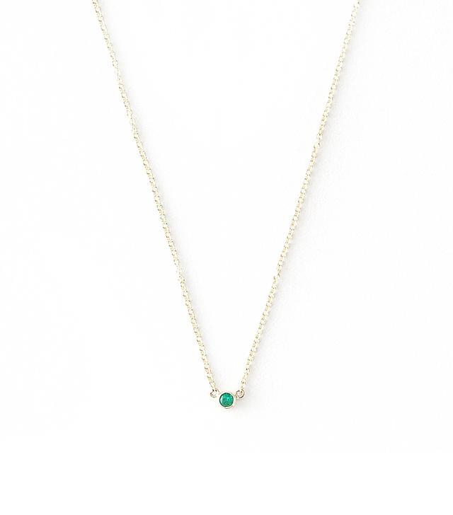 Grace Lee Emerald Bezel Necklace