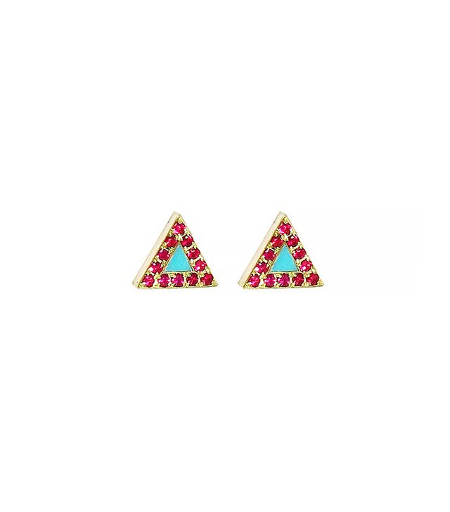 Jennifer Meyer Turquoise and Ruby Inlay Triangle Studs