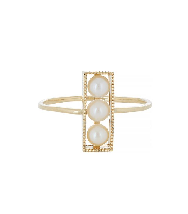 Grace Lee Pearl & Gold Rectangular Ring