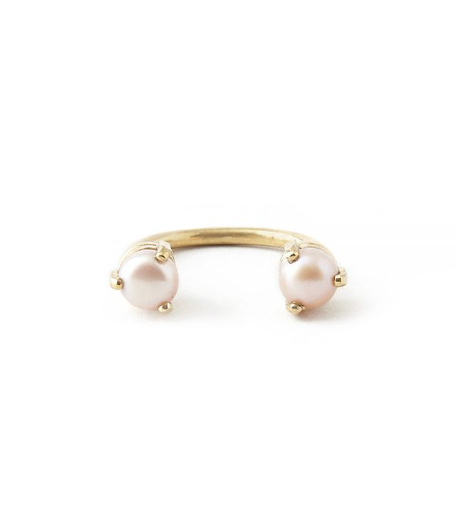 AESA Single Wave 6mm Stoned Ring Pearl