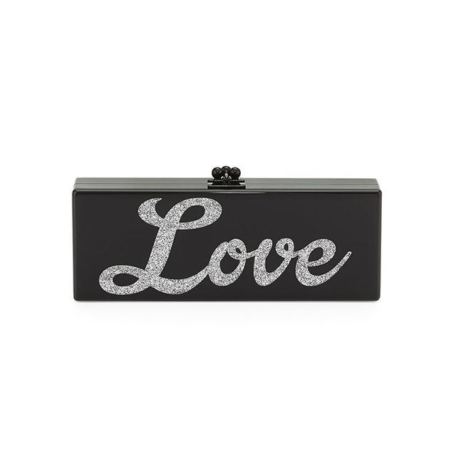Edie Parker Flavia Acrylic Love Clutch Bag