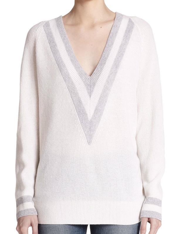 Rag & Bone Talia Ribbed Cashmere Deep V-Neck Sweater