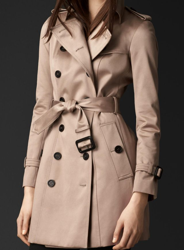 Burberry Prorsum Mid-Length Cotton Sateen Trench Coat