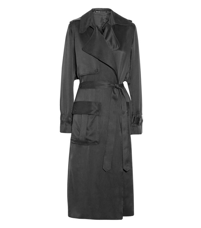 Michael Lo Sordo Washed Silk-Satin Trench Coat