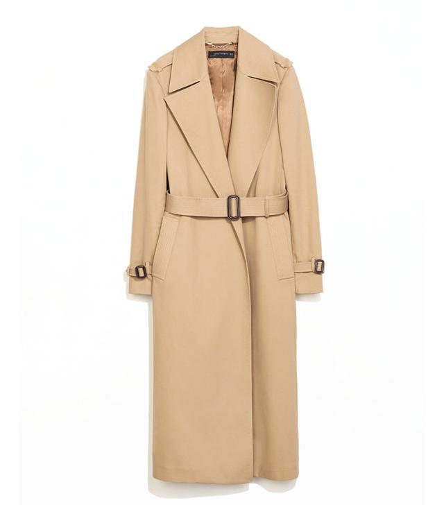 Zara Long Cotton Trenchcoat