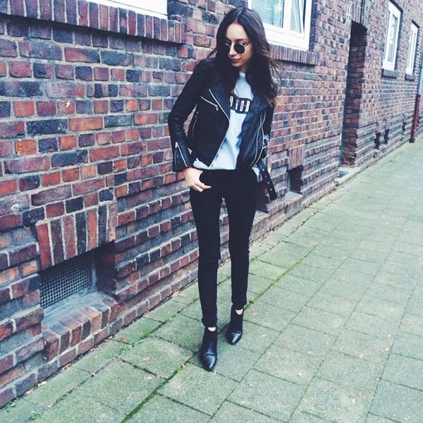 Winter Leather Jacket Outfits