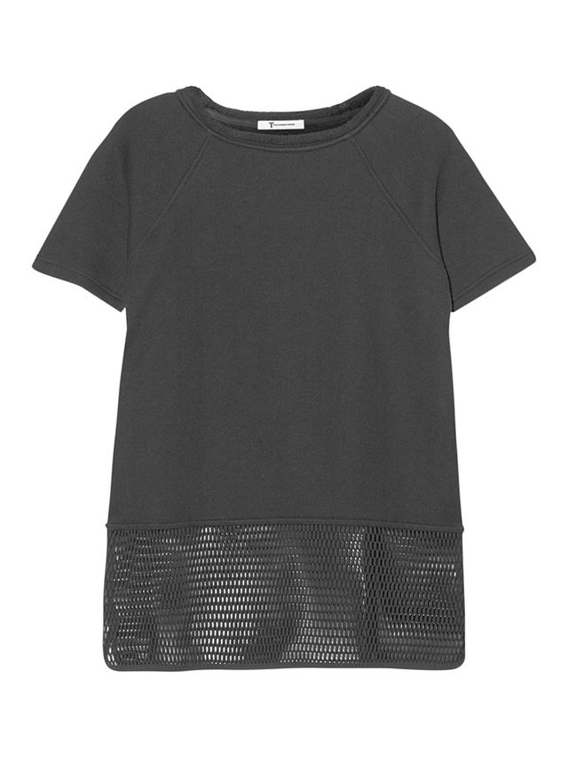 T by Alexander Wang Paneled Cotton French Terry Top