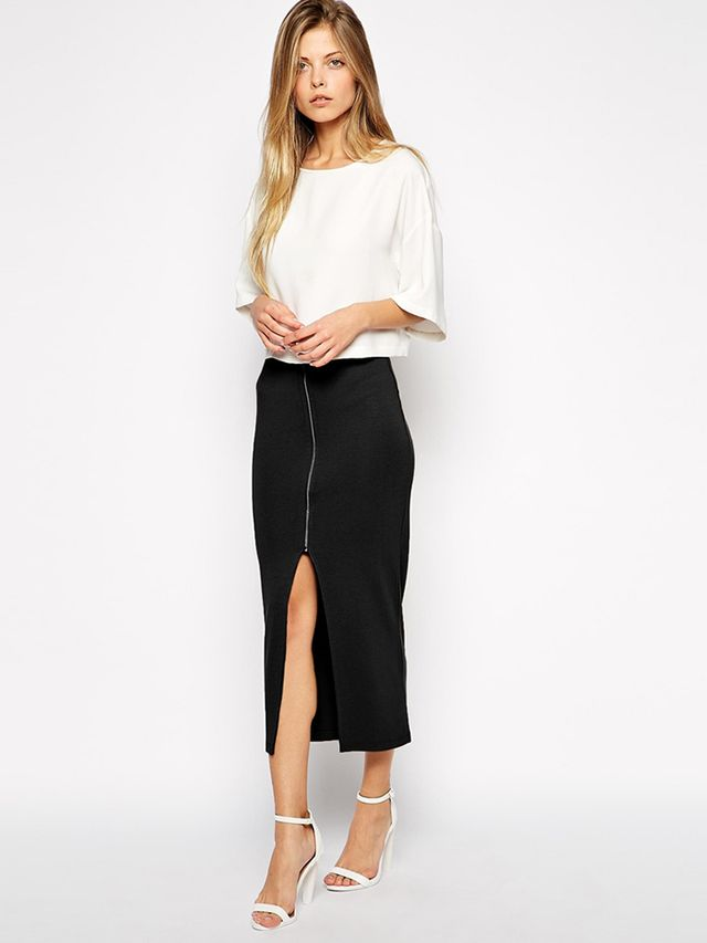 ASOS Longline Pencil Skirt with Zip Front