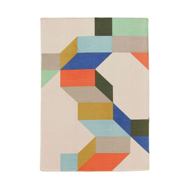 Urban Outfitters Assembly Home Complex Colorblock Handmade Rug (5'x7')