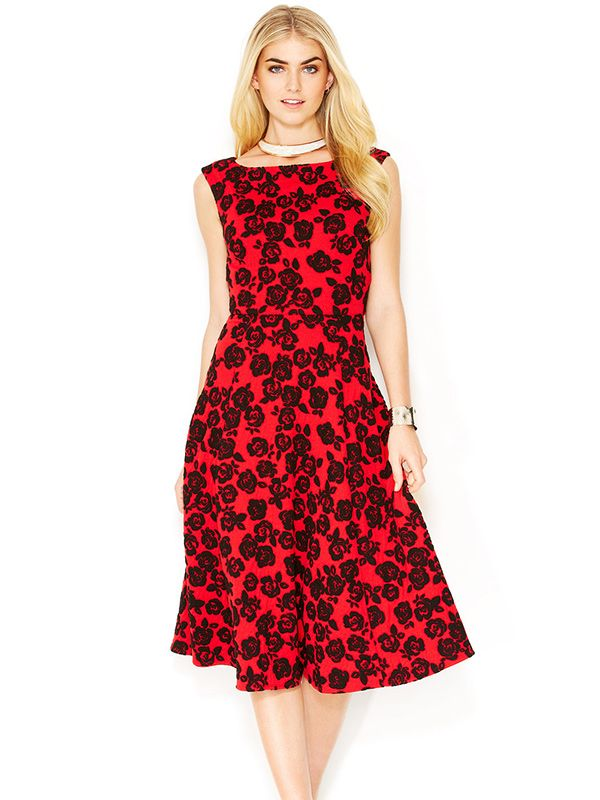 Betsey Johnson Textured Rose-Print Midi Dress