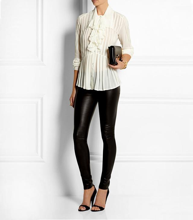 McQ Alexander McQueen Ruffled Pleated Georgette Shirt