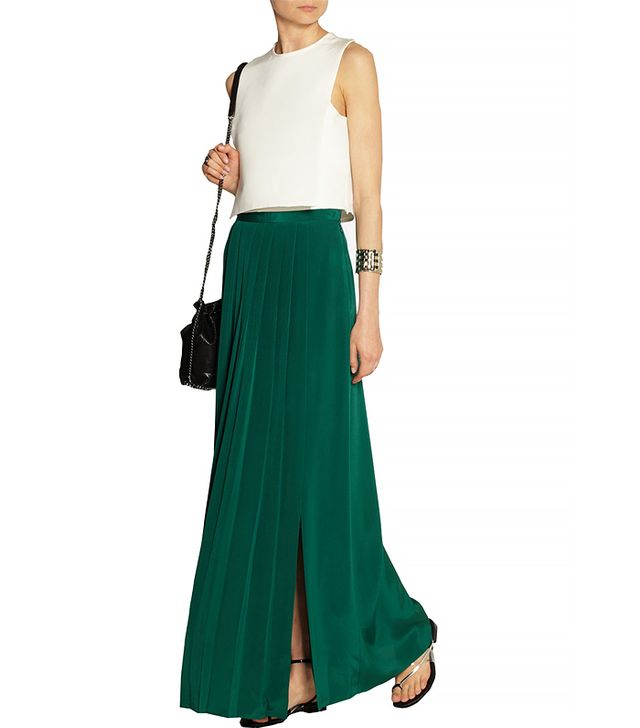 Tibi Pleated Washed-Silk Maxi Skirt