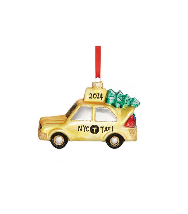 Macy's Holiday Lane Glass Taxi Cab Christmas Ornament