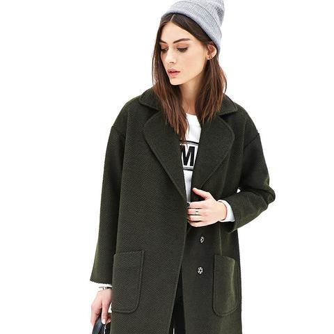 Textured Woven Overcoat