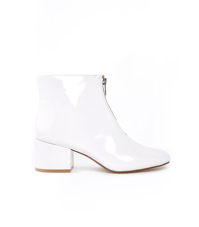 Cheap Monday White Patent Square Toe Heeled Ankle Boots