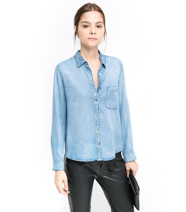 Mango Check-Pocket Tencel Shirt