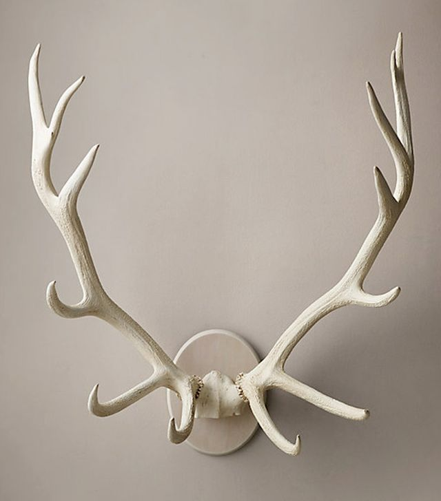 Restoration Hardware Bleached Elk Antlers Cast In Resin