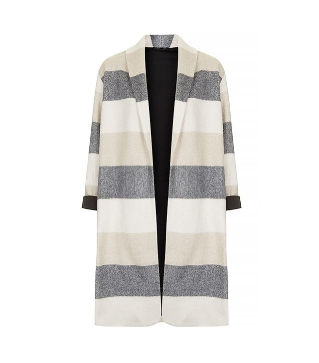 Topshop Striped Wool Blend Duster Jacket