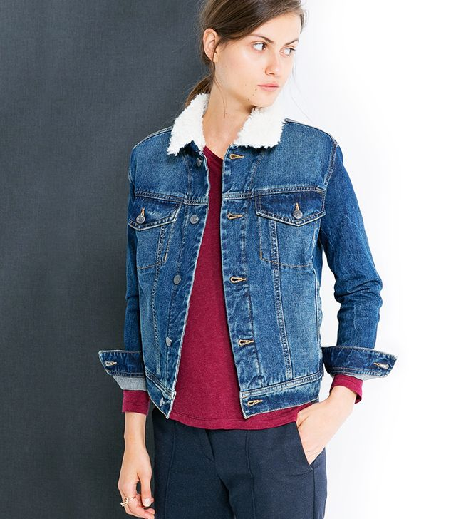 Mango Quilted Denim Jacket